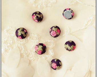 10pcs 13mm flat back fabric Cabochon floral fabric Cabochons Fits kawai DIY Supplies