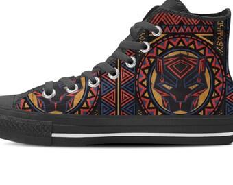 Black Panther Converse Shoes, Black Panther, Black Panther Custom Shoes, Black Panther High Top Sneaker, Black Panther Custom Kicks, Wakanda