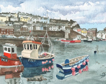 Mevagissey Harbor in watercolor, ORIGINAL painting, Cornish harbor, English holiday memory, happy home decor by David Platt, Free shipping