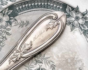 Engraved Silver Butter Knife Martha Antique Souvenir