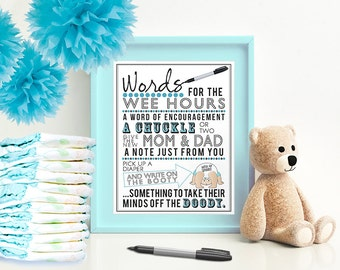 Blue Words for the Wee Hours for Baby Shower 5x7 & 8x10 PDF  Instant download printable