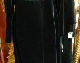 Vintage 1960's Full Length Black Velvet Evening Coat with Rhinestone buttons!