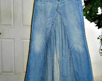 Upcycled jean skirt vintage Levis Renaissance Denim Couture ballroom jean skirt mermaid belle bohémienne Made to Order in your size