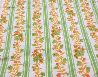 Vintage Waverly Fabric Green Floral Stripe 10 Yards Thin Cotton Blend Orange 60s 70s Primrose Path