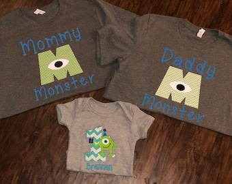 Monsters inc birthday shirt outfit Mommy and daddy monster