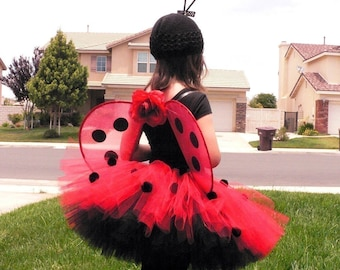 Ladybug Girl Costume - Custom Sewn Tutu, Wings, and Antenna all included - HANDMADE WINGS - sizes up to 5T