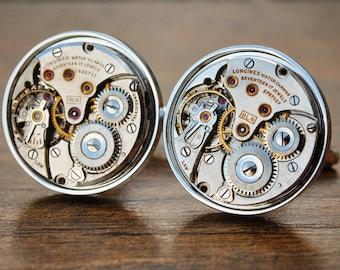 Longines Cufflinks Watch Movement - Steampunk Vintage Luxury Watch Wedding Jewellery Jewelry Cuff Links Groom