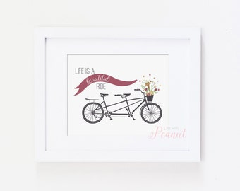 Inspirational Art, Bike Art, Bicycle Art, Tandem Bike - Life is a Beautiful Ride Art Print - Home Decor, Office Decor - Instant Download