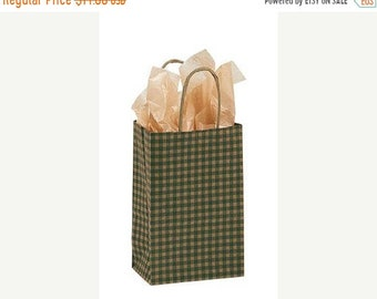 Mothers Day Sale 25 pack Green and Kraft Gingham Recycled 5.25 x 3.5 x 8.5 inch Paper Handle Bags