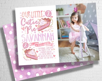 Cutie Pie Birthday Invitation | Pie Birthday Invite | Sweet as Pie Invitation | Pink, Purple Girl's Birthday Invitation | DIGITAL FILE ONLY