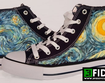 Hand painted STARRY NIGHT by Van Gogh Sneakers Shoes Trainers - we tailor to your taste! Shoe Wizzards 3Fiddy.
