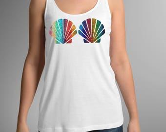 Kleine Meerjungfrau Shirt, Muschel-Shirt, Sea Shell T-shirt, lila Glitter überbacken Muschel BH Flowy Tank, Regenbogen-Muschel-Meerjungfrau-Shirt