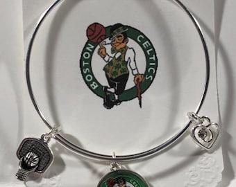 Boston Celtics Sports Theme Bangle Charm Bracelet Free Shipping