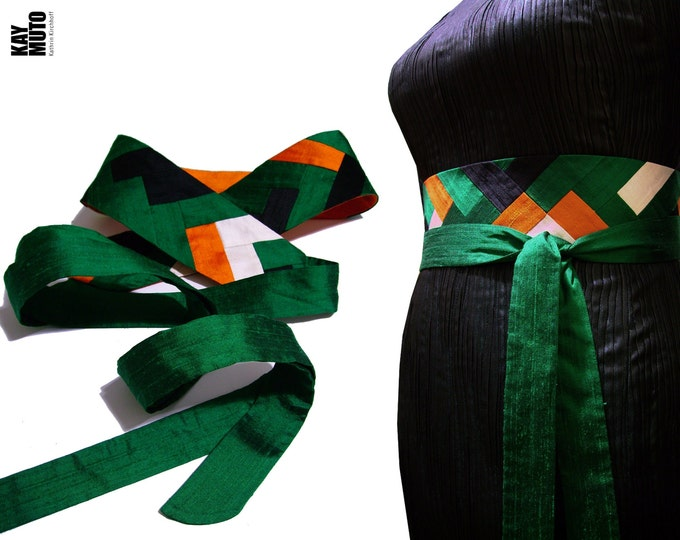 Obi belt sash INTARSIA silk shantung green orange