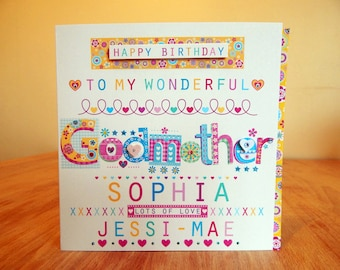Godmother/Godfather birthday card personalised Godmother or Godfather special personal card