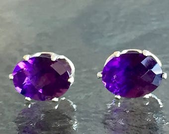 Amethyst African 8x6mm 3ctw Sterling Silver Studs
