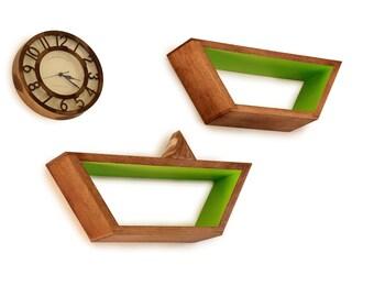 Mid Century Modern Shelves - Floating Shelf - Geometric Shelving - Wall Shelf - Minimalist Storage - Wooden Art - Set of 2 Trapezoid Shelves