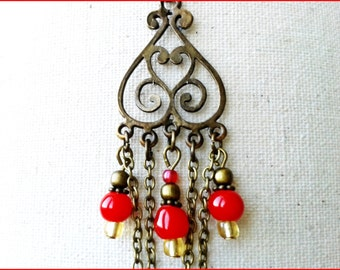 Style Oriental red pendant and earrings set