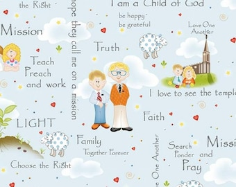 By The HALF YARD - Follow Me by Dana Brooks for Henry Glass, Patt #9776-11, Christian Quotes Toss, Sheep, Missionaries, Church on Baby Blue