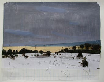 Little Hedge at Dusk, Original Winter Sunset Landscape Collage Painting on Paper, Stooshinoff