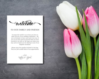 Welcome Bag Letter, Thank You Note, Rustic, Kraft Bag Letter, Welcome Note, Template, DIY EDITABLE PDF, Printable Instant Download E73A