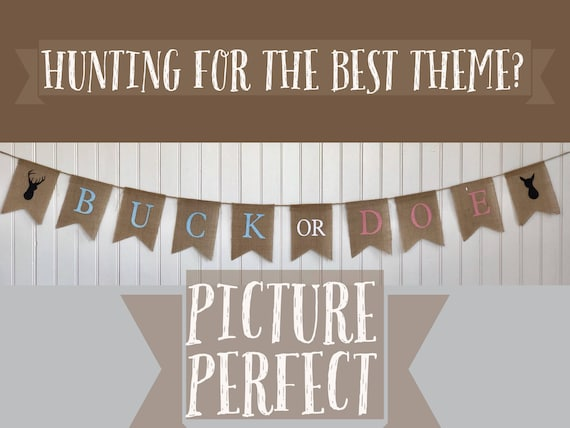 BUCK or DOE Burlap Banner! The Perfect Gender Reveal Theme! Customizable Burlap Banners! Perfect Gender Reveal Ideas!
