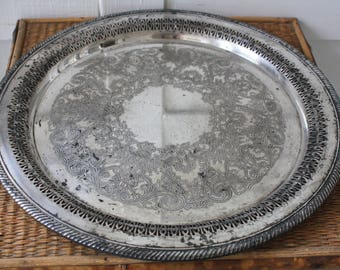 large silver tray, large round silver tray, silver serving tray, rustic silver tray, WM Rogers tray