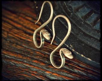 Snake Earrings - Silver Snake Earrings - Snake Jewelry - Boho Snake Earrings - Snake Silver Earrings