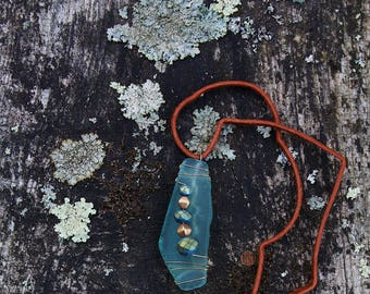 the SEAFOAM / sea glass + wire + beads wire wrapped necklace