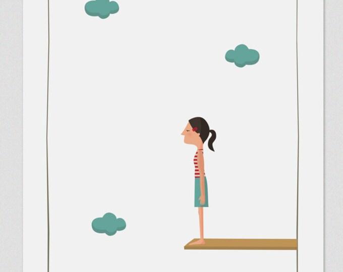 """Ilustración """" Salto al vacío (ella) """"."""