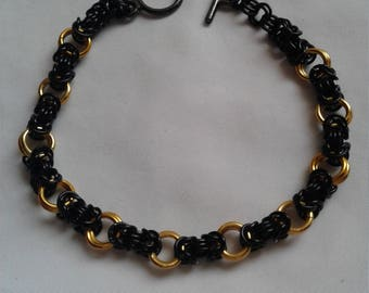 Black and Gold Segmented Byzantine Bracelet
