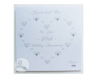 Handmade Personalised 30th Wedding Anniversary Card Pearl Marriage Gift Hearts