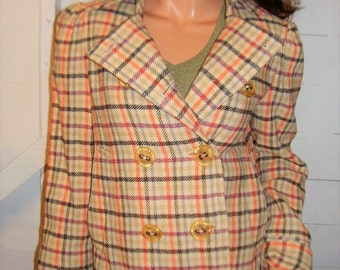 Marc Jacobs Wool Beige Plaid Pea Coat M