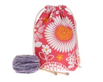 knitting drawstring project bag wide mouth opening flowers, crochet cinch bag, wedge knitting bag, yarn bowl tote bag, girlfriend gift