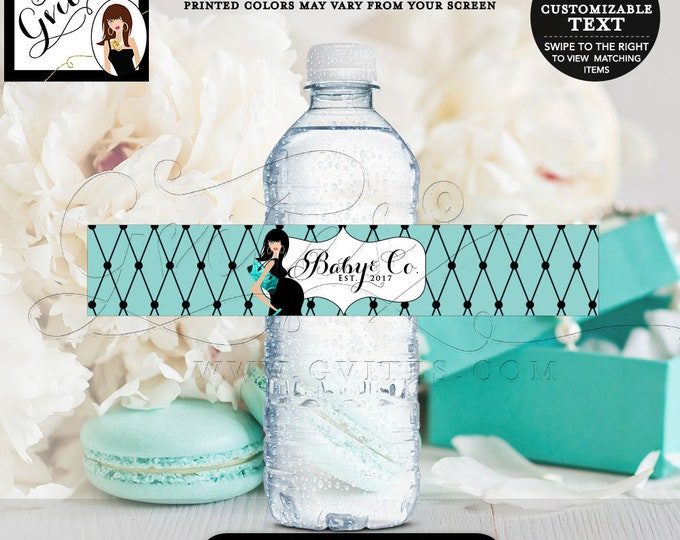 """Baby & Co water bottle labels, stickers, breakfast at and co, baby and company sticker tags, party favors PRINTABLE. 8x1.5"""" 6 Per/Sheet."""