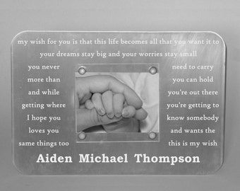 Newborn Engraved Frame - Custom Metal Baby's Picture Frame, Personalized Christening, Baptism Gift, Personalized Baby's First Birthday Gift,