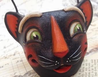 Allie Cat - EHAG - Hand sculpted OOAK, original paper mâché, black cat, candy cup, ornament, Halloween, trick or treat by Alycia Matthews