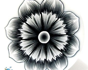 Polymer clay  flower cane black and white FLOWER cane  -by Mars