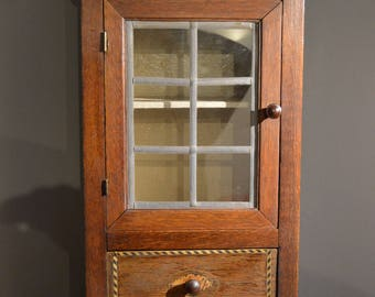 Vintage Oak smokers cabinet Bespoke  homemade leaded glass inlay