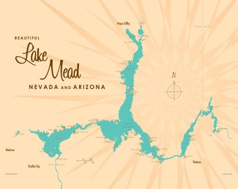 Lake Mead NV & AZ Map - Canvas Print