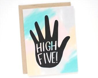 Graduation Card - Congratulations Card - High Five Card - Congrats Card - Card for a Friend