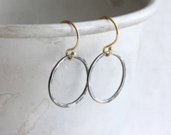 Hoop earrings - oxidized silver & gold earrings, minimalist earrings, hammered hoop earrings, mixed metal earrings, two tone earrings