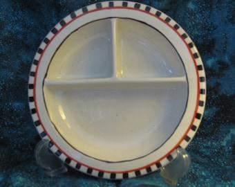 Black Checkered Divided Relish Dish