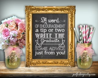 Graduation Advice Chalkboard Printable 8x10 PDF DIY Rustic Shabby Chic Woodland A Word Of Encouragement A Tip Or Two New Graduate Advice