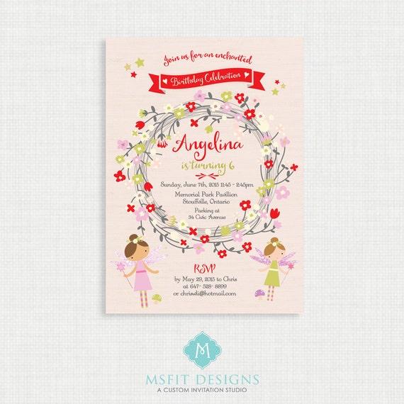Fairy Birthday Invitation- Woodland Fairy Birthday Printable,  Birthday Party Invitations, DIY,  Printable Template, Birthday