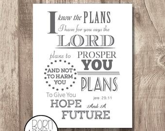 Printable Bible Verse Jeremiah 29:11 Grey
