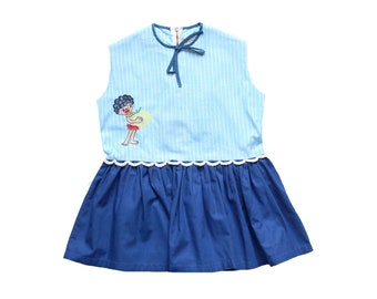 FRENCH VINTAGE 60's / kids / summer dress / blue cotton fabric + embroidery / size 2/3 years