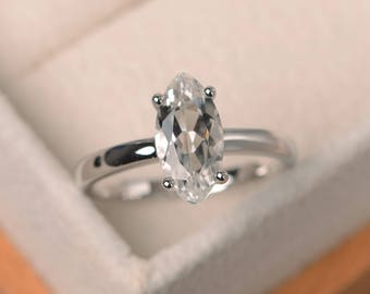 Natural white topaz ring, wedding ring, solitaire ring, marquise cut gemstone, November birthstone