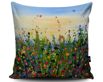 Floral Summer Cushion by Tracey Cooper | Conservatory Field Cushion | Flowers Pillow | Field Painting | Handemade Vegan-Suede