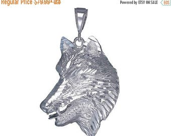 ON SALE Large Sterling Silver Wolf Charm Pendant Necklace 2.1 Inches 9 Grams with Diamond Cut Finish and 24 Inch Figaro Chain